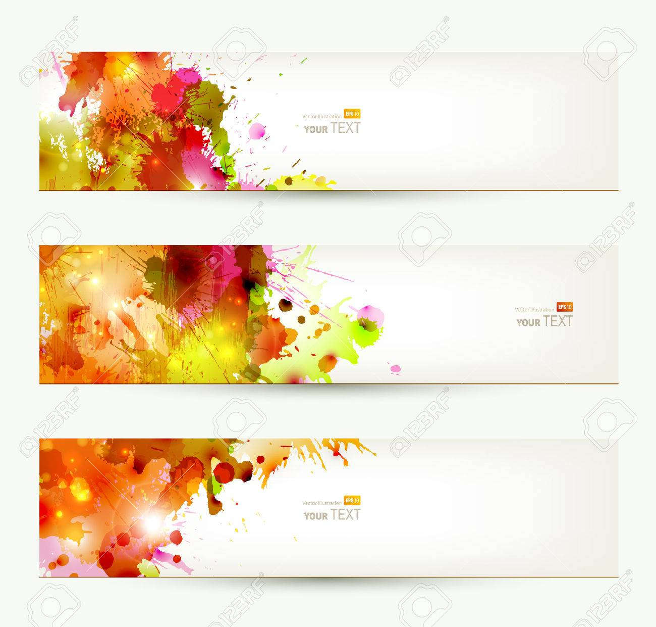 Set of three headers  Abstract artistic Backgrounds of autumn colors Stock Vector - 25203376