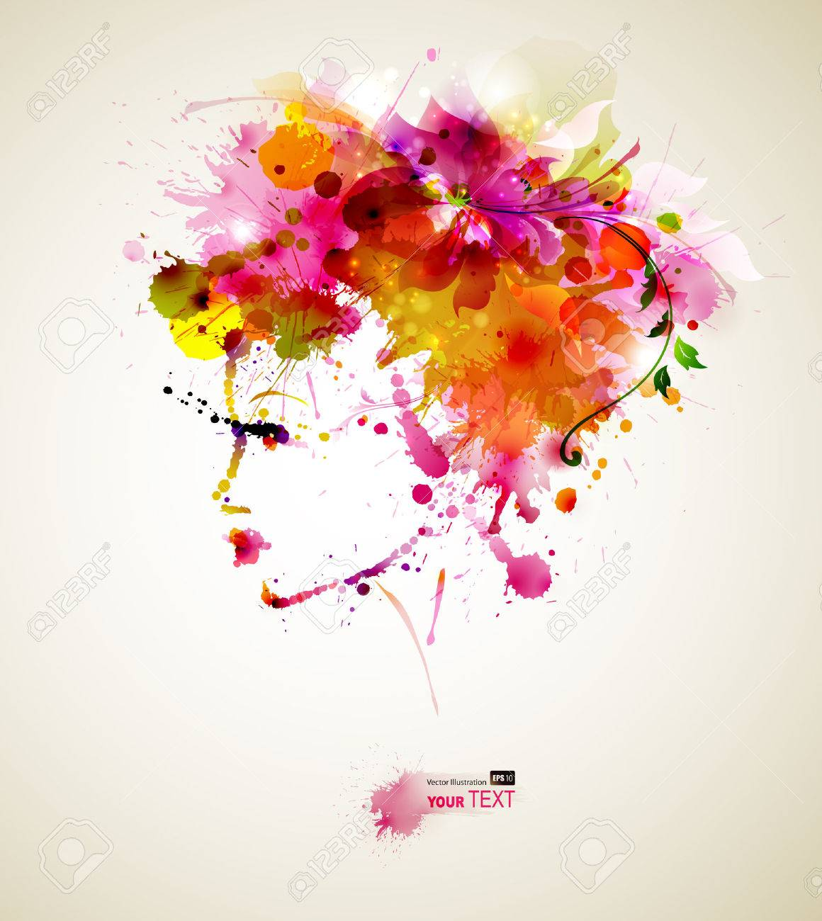 Beautiful fashion women with abstract hair and design elements Stock Vector - 25203379