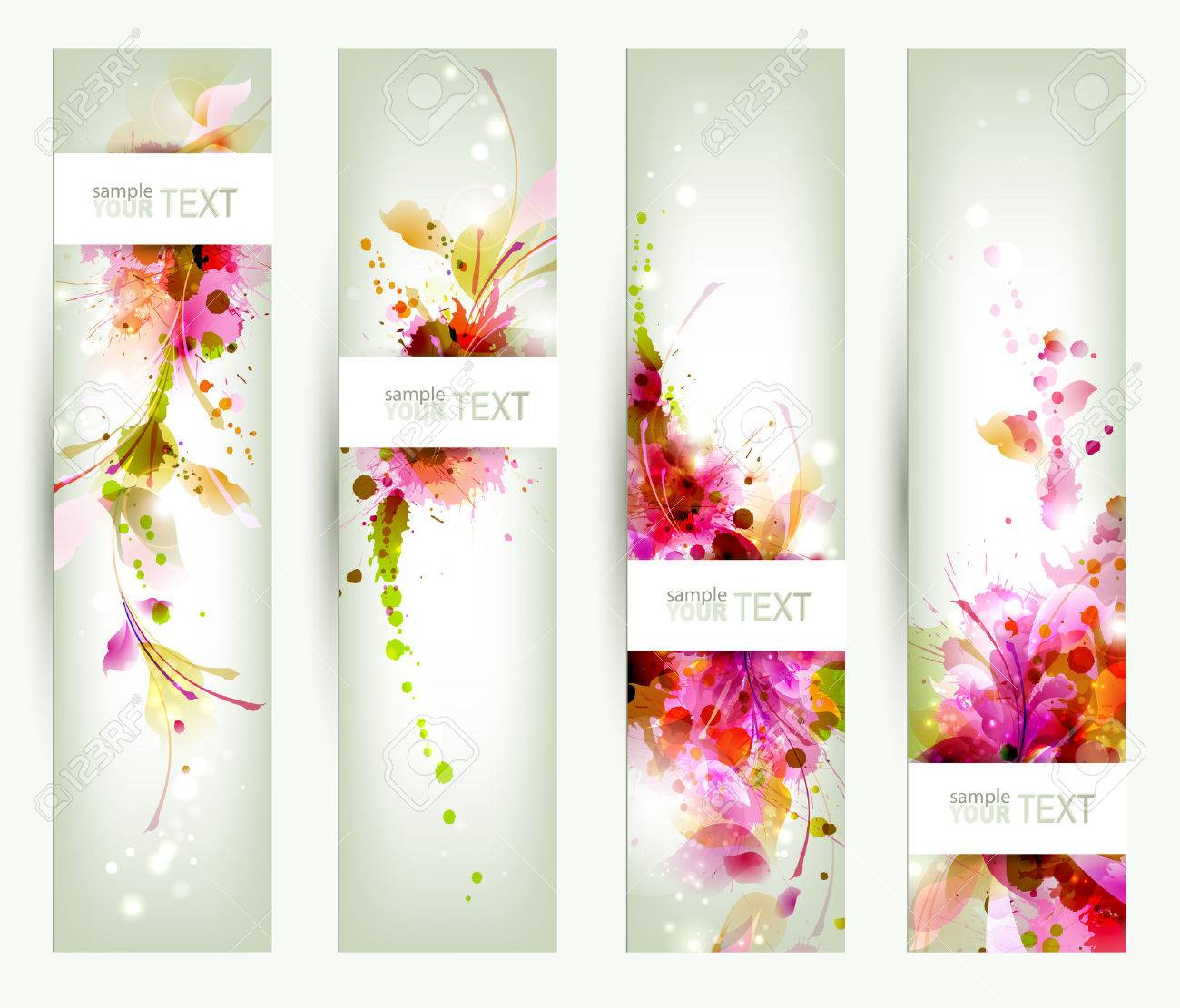Set of four headers  Abstract artistic Backgrounds Stock Vector - 25203394