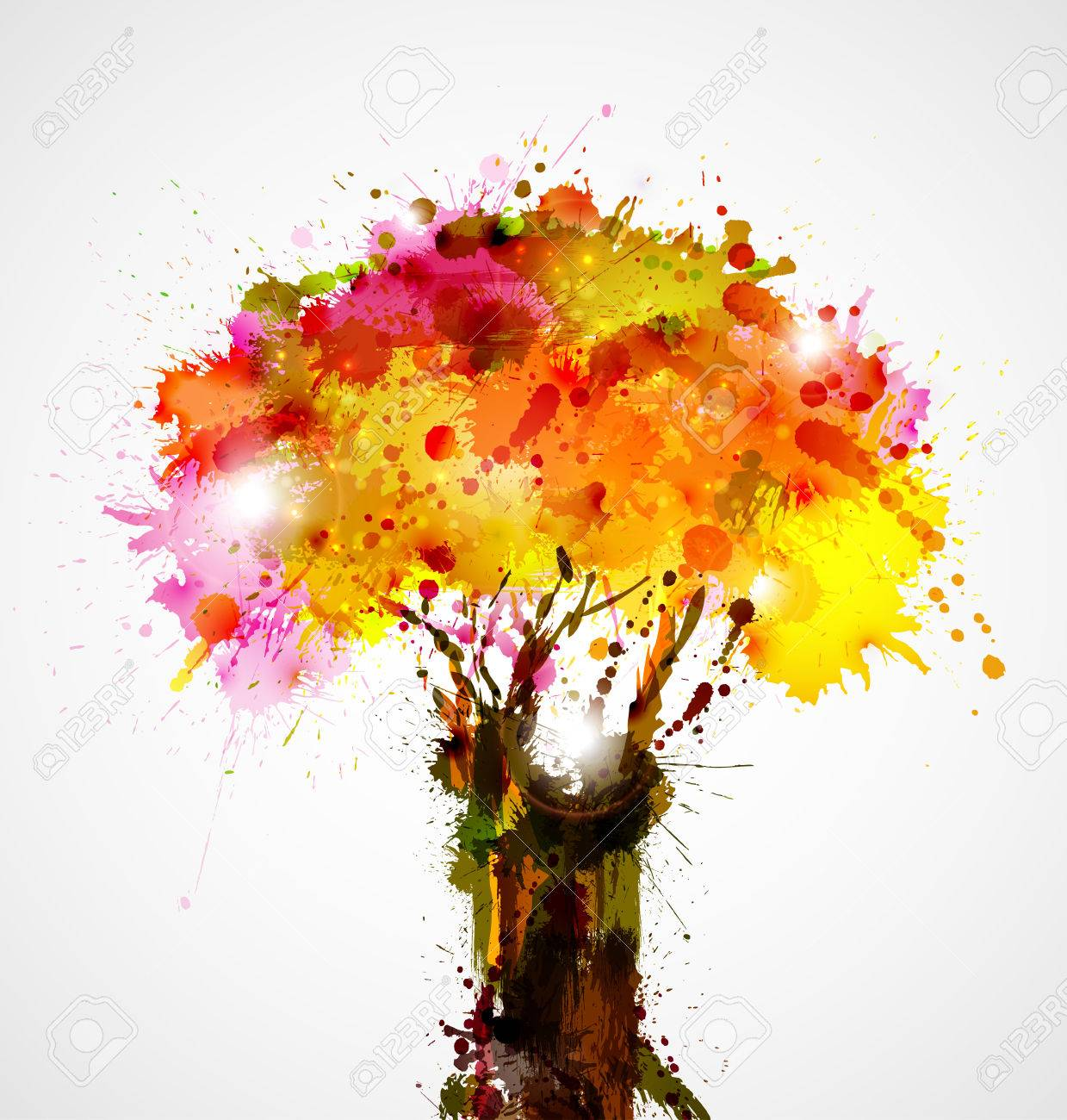 autumn abstract tree forming by blots Stock Vector - 25161770