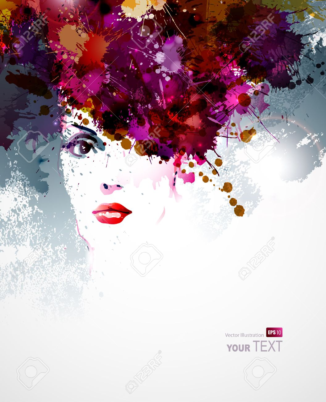 abstract design elements with woman face Stock Vector - 25161580