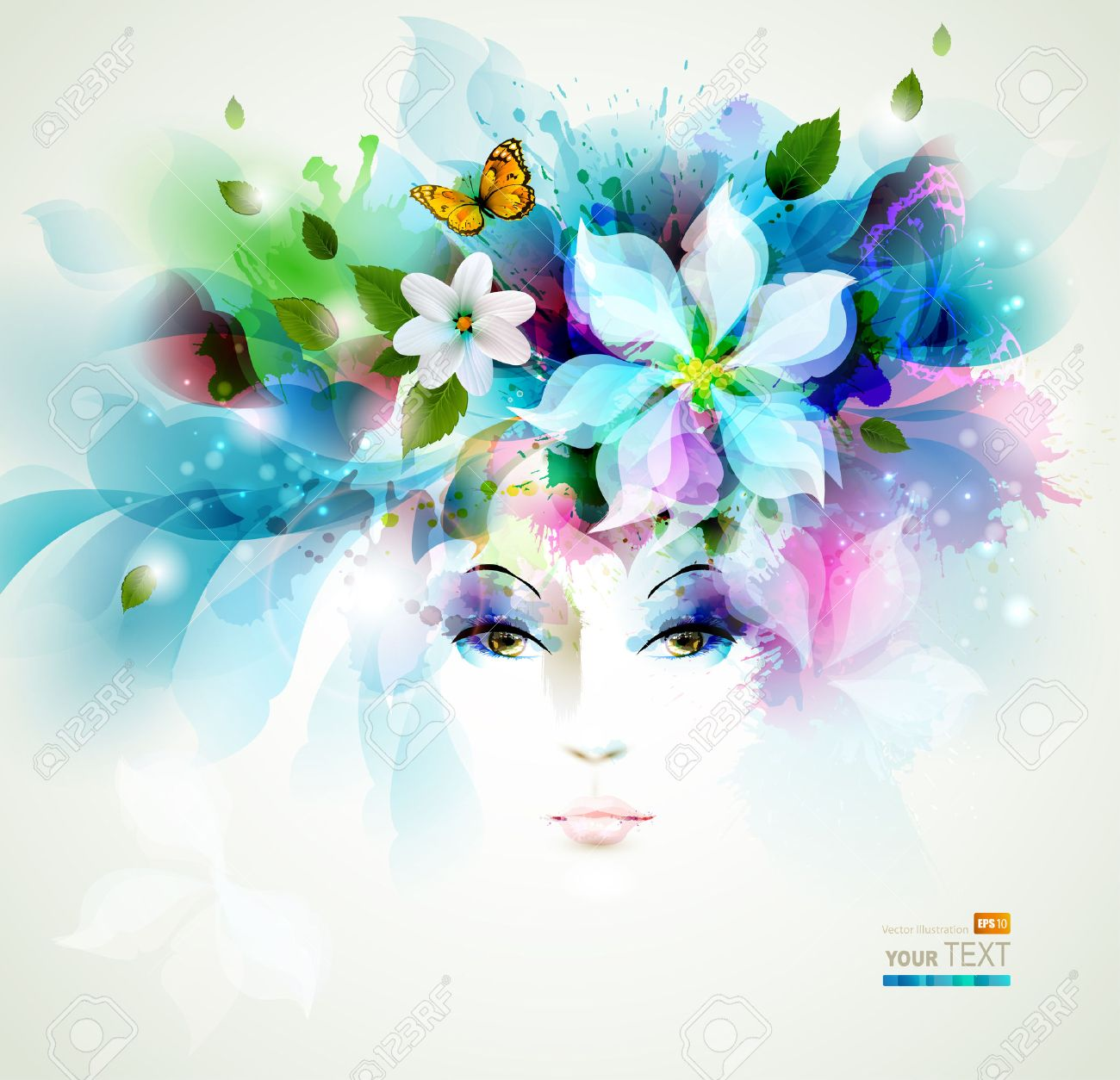 Beautiful fashion women face with natural elements, flowers and butterflies Stock Vector - 25161463