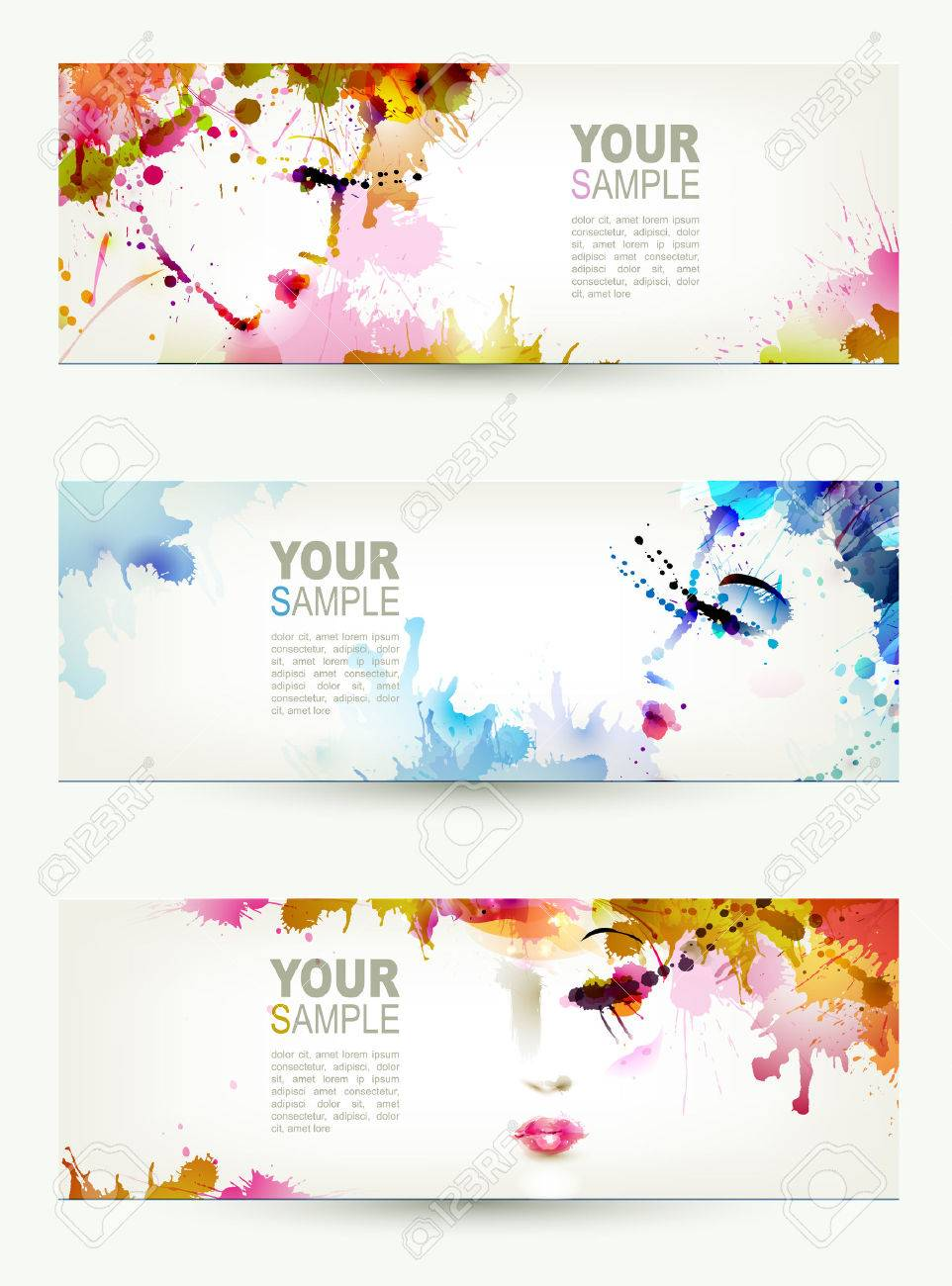 Beautiful abstract women faces on three headers Stock Vector - 25161522