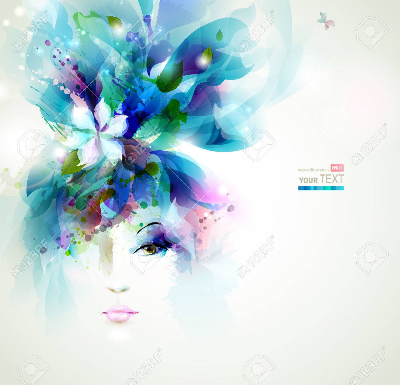 Beautiful fashion women face with flower Stock Vector - 25161399