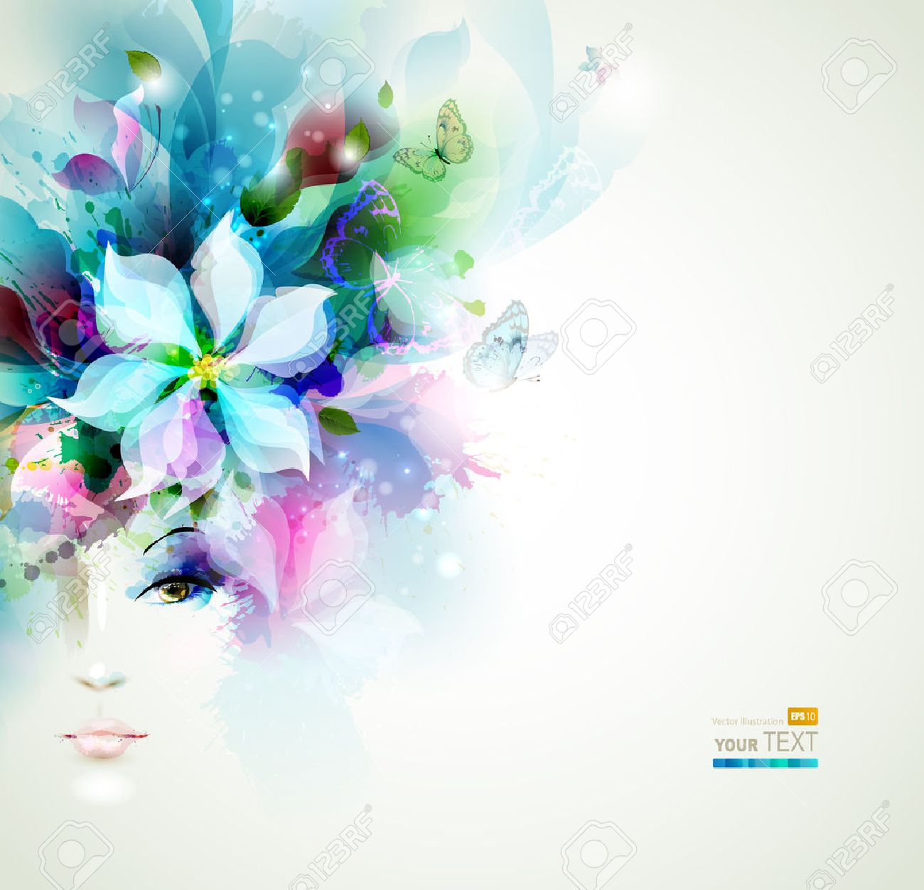 Beautiful fashion women face with natural elements, flowers and butterflies Stock Vector - 25161400