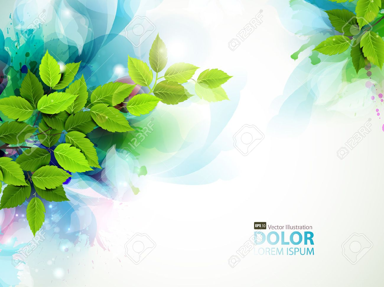 banner with fresh green leaves Stock Vector - 25161401