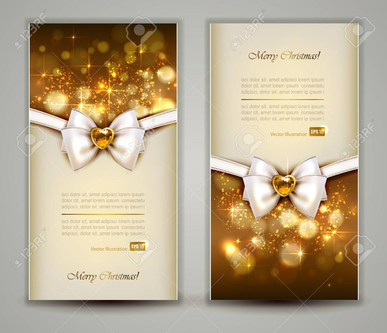 Two elegant christmas greeting cards with bow and jewelry royalty two elegant christmas greeting cards with bow and jewelry stock vector 25117870 m4hsunfo