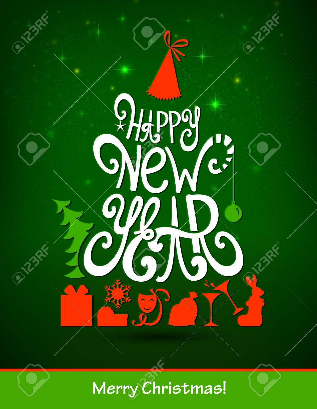 Rbol De Abeto Formando Desde Cartas Feliz Año Nuevo Partido