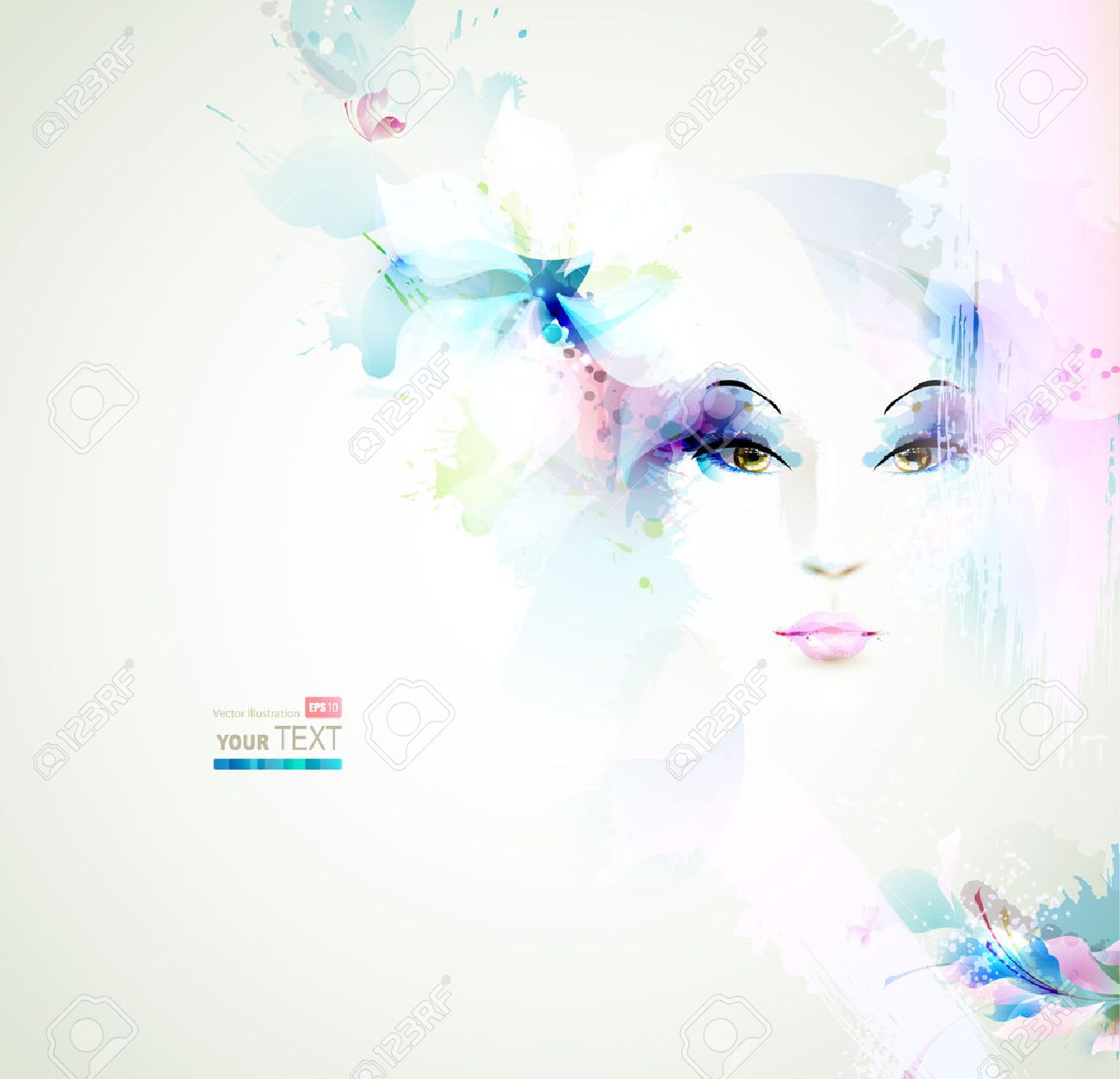 Beautiful fashion women face with natural elements and flowers Stock Vector - 25497561