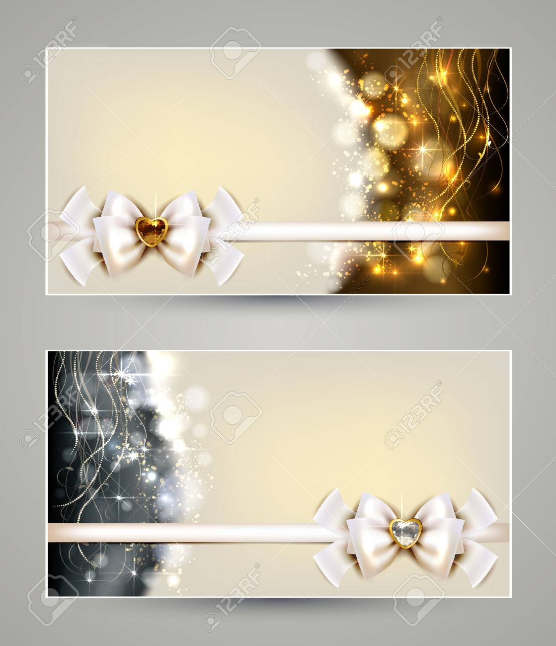 Two Elegant Christmas Greeting Cards With Bow And Jewelry Royalty