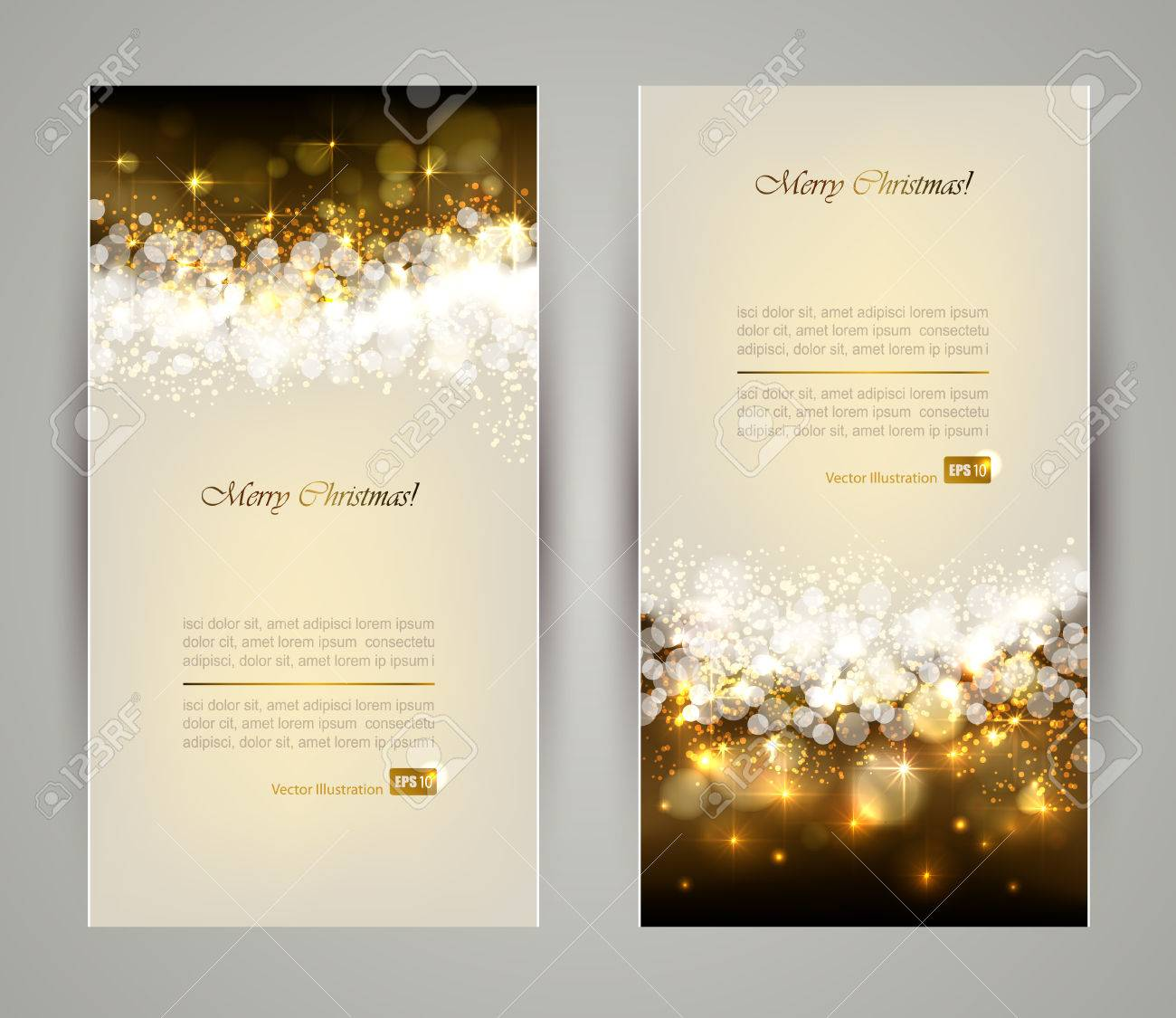 Two Elegant Christmas Greeting Cards Royalty Free Cliparts Vectors