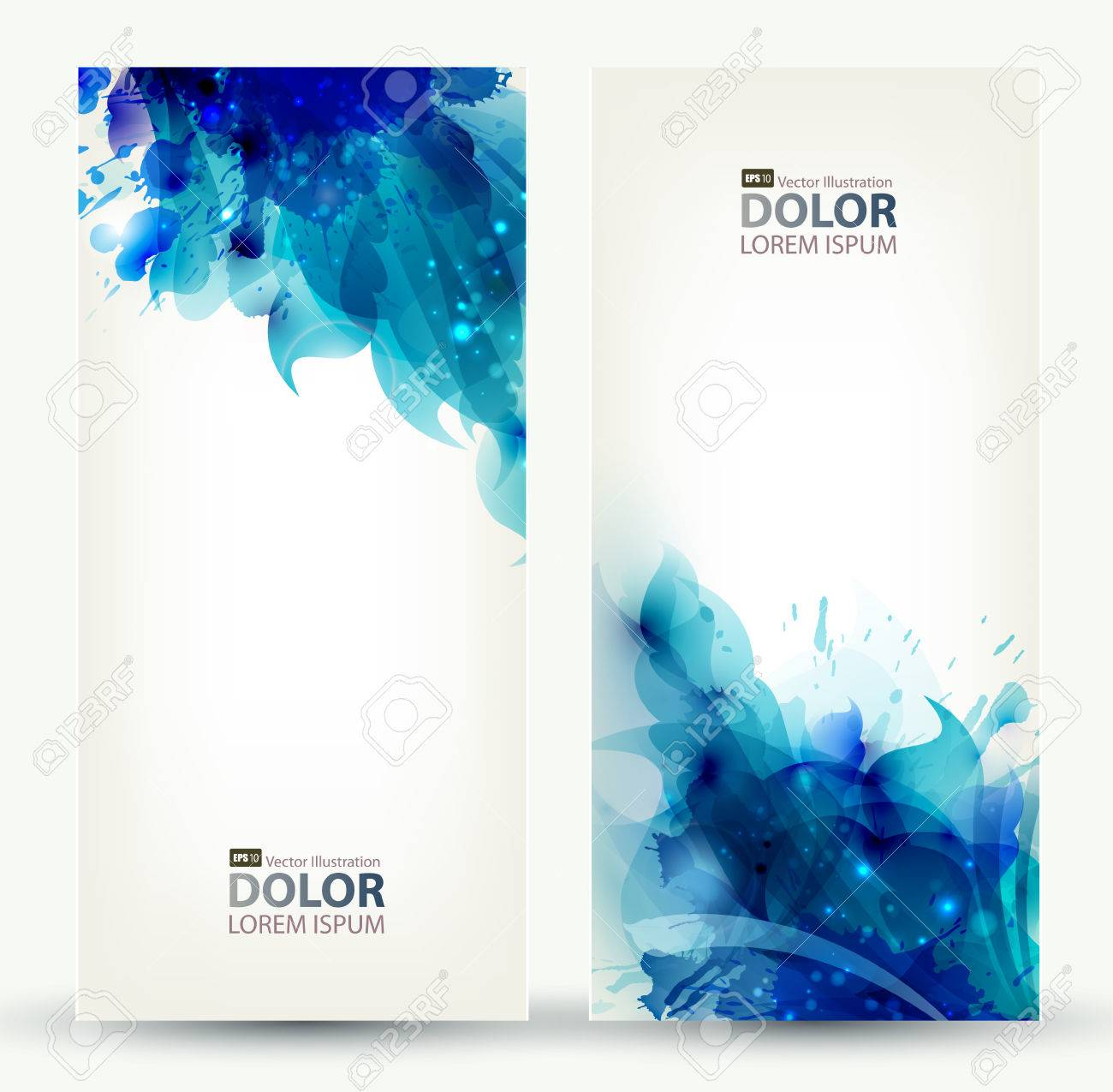 set of two banners, abstract headers with blue blots Stock Vector - 25497944