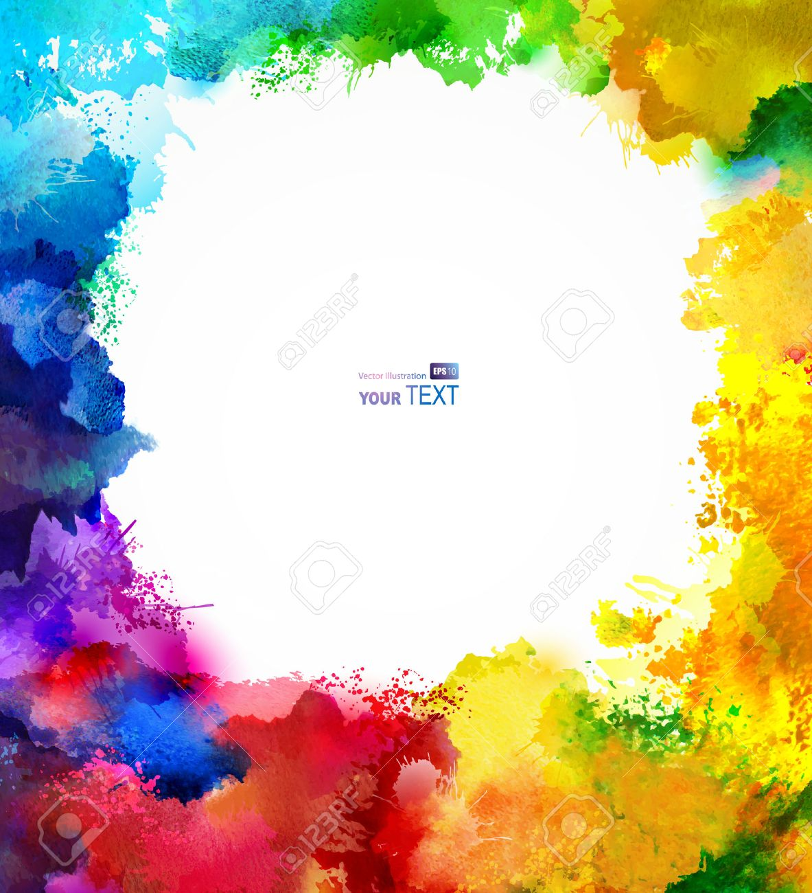 absract rainbow frame  Watercolor blots Stock Vector - 25497945