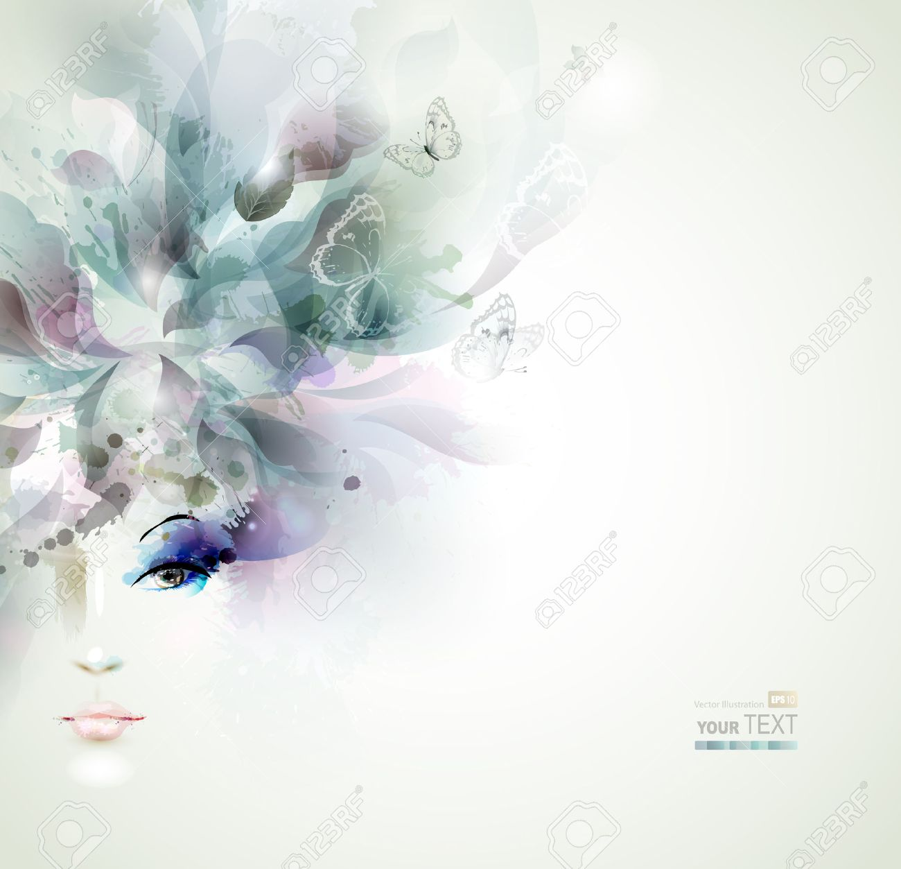 Beautiful fashion women face with abstract elements and butterflies Stock Vector - 25498305
