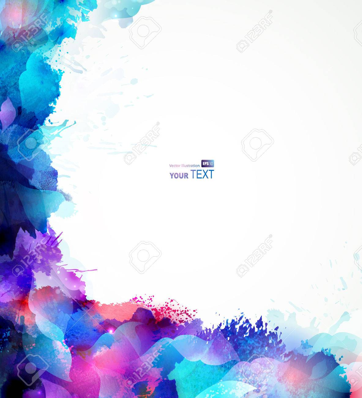 blue abstract background forming by blots and design elements Stock Vector - 25498353