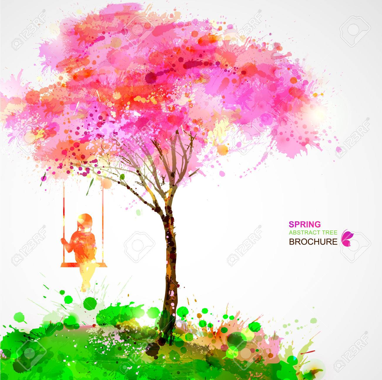 Spring blossoming tree. Dreaming girl on swing. Stock Vector - 36224886