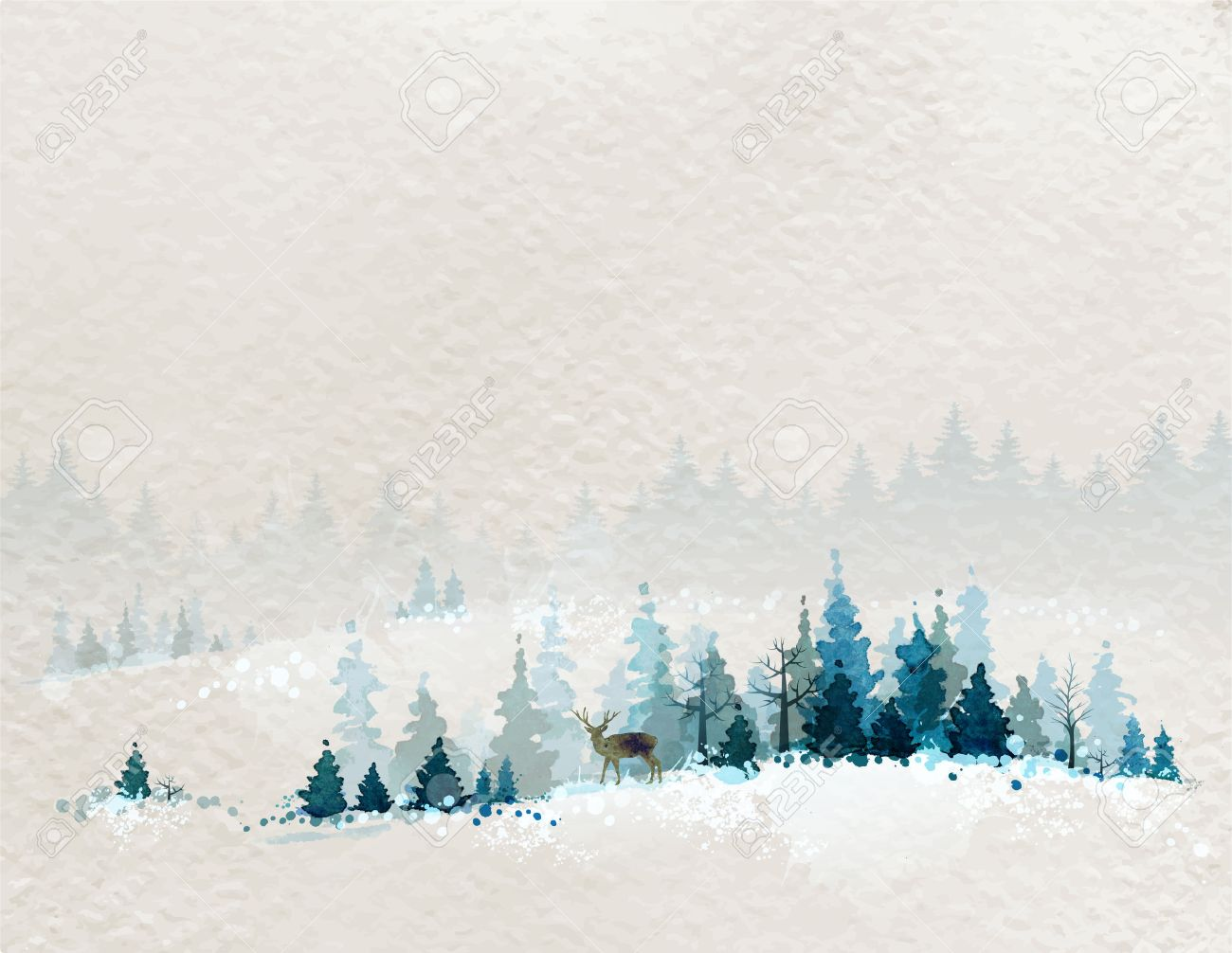winter landscape with fir forests and deer Stock Vector - 37211009