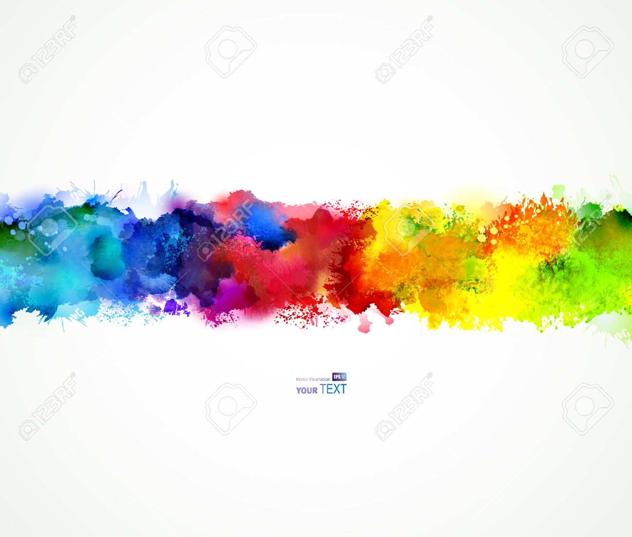 Bright watercolor stains. Rainbow blend. Stock Vector - 36224895