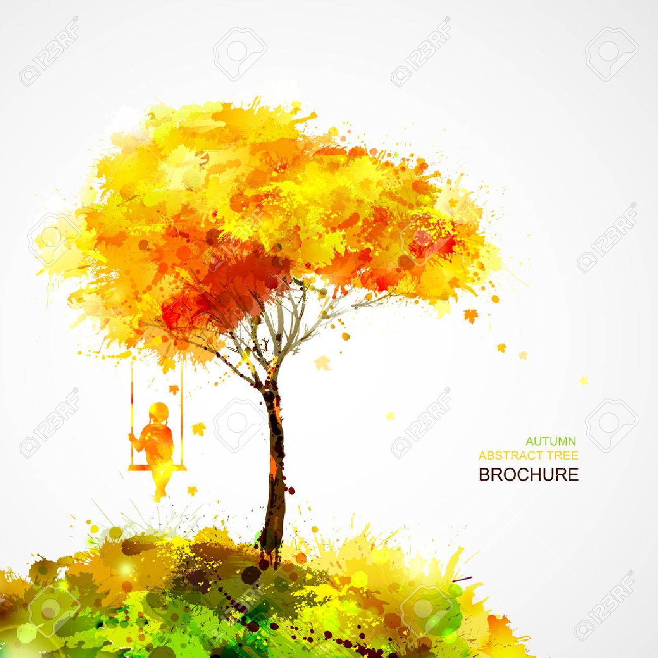 autumn tree. Dreaming girl on swing Stock Vector - 36225871