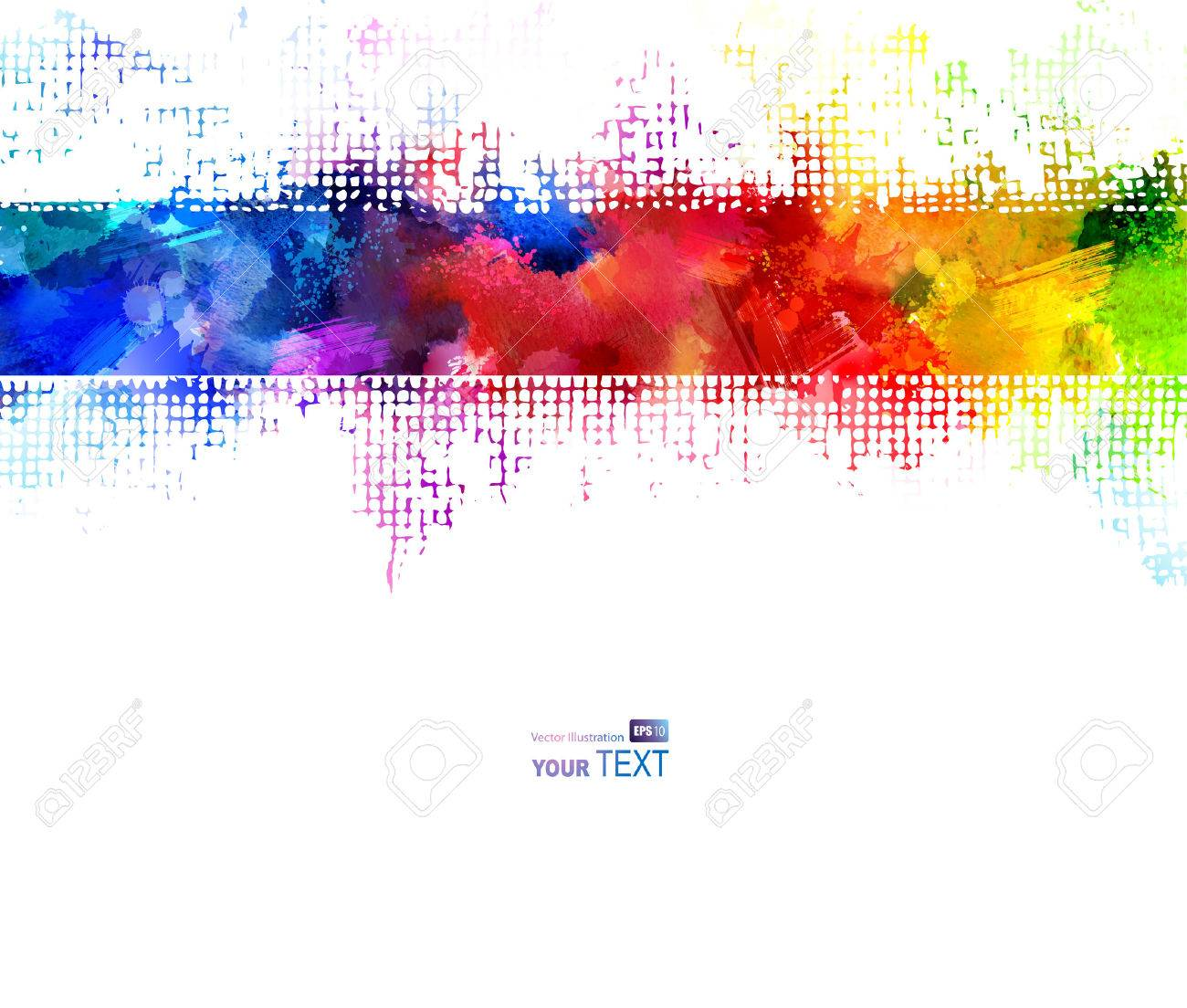 Bright watercolor strip. Rainbow stains Stock Vector - 36314694