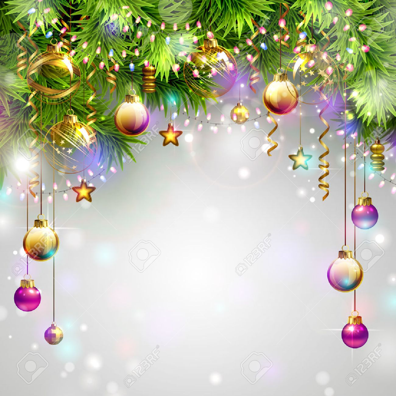 Christmas backgrounds with evening balls, garlands and fir-trees branches Stock Vector - 36528101