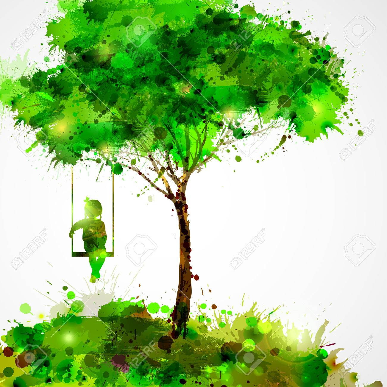 Summer green tree. Dreaming girl on swing. Stock Vector - 38452364