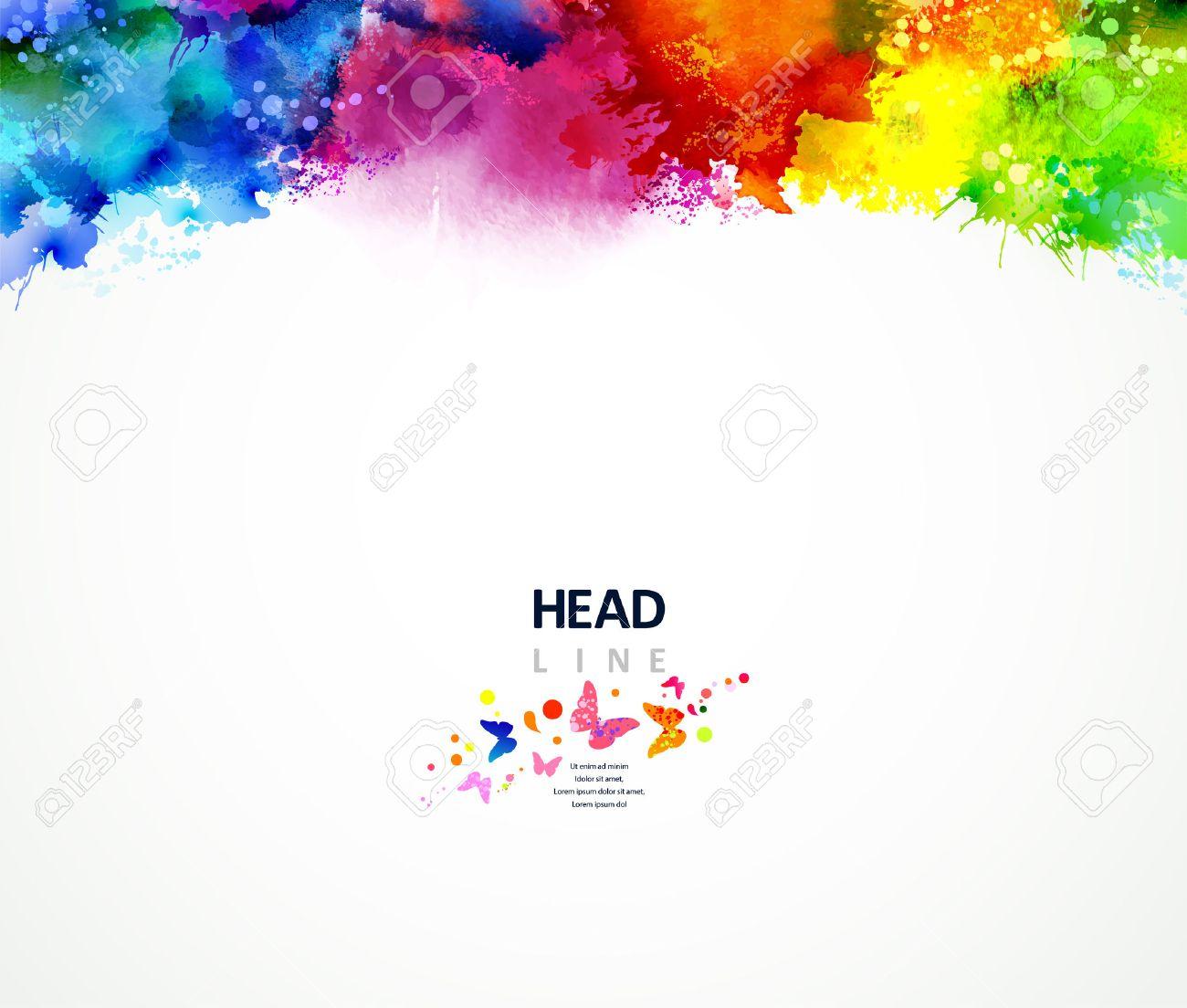 Bright watercolor stains. Multicolor border. Stock Vector - 39043956