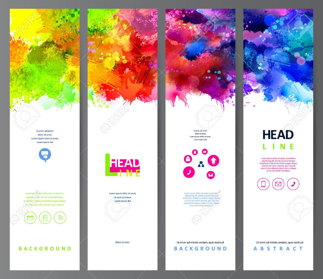 set of four banners, abstract headers with varicolored blots Stock Vector - 46966976