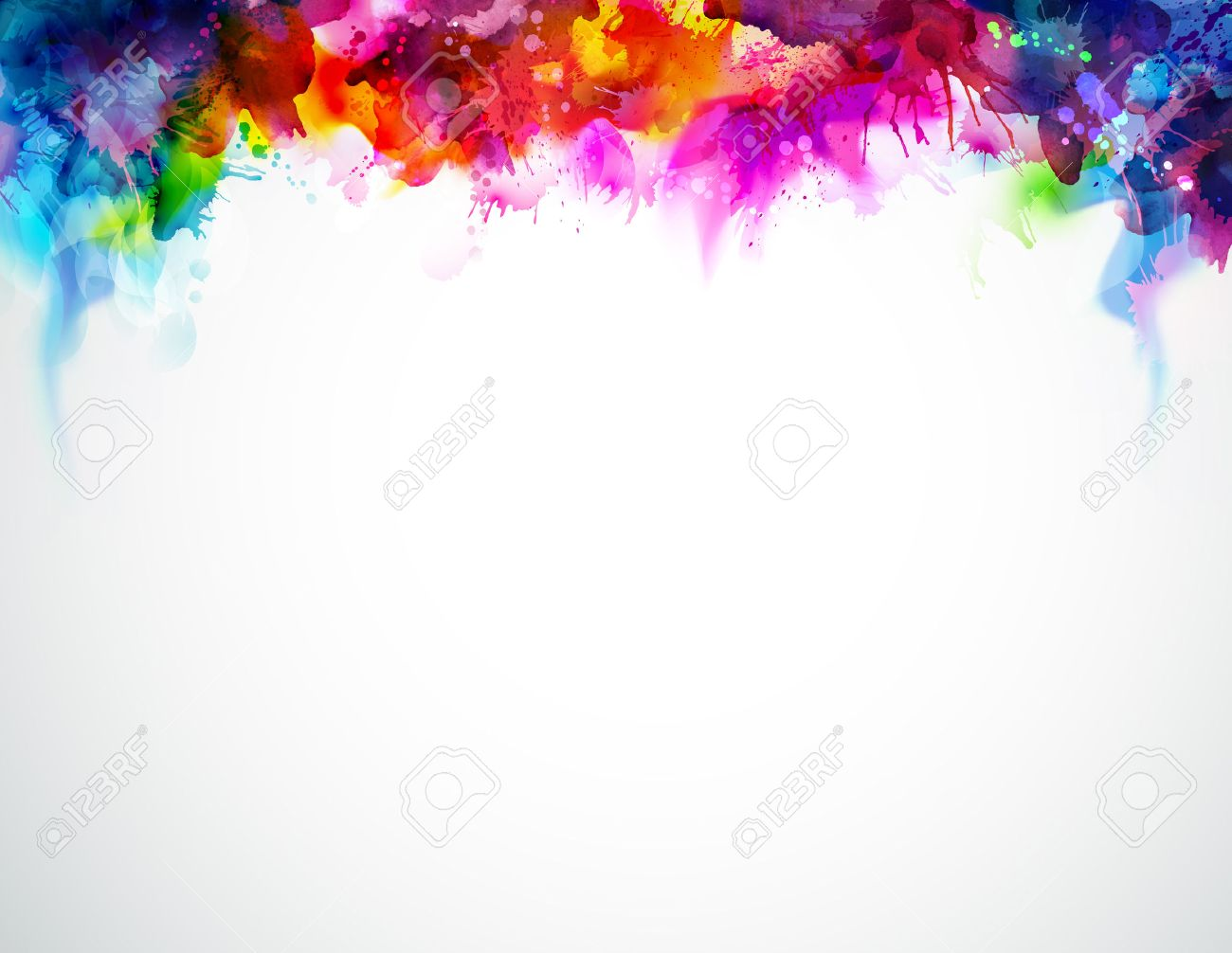 bright abstract watercolor stains multicolor border rainbow