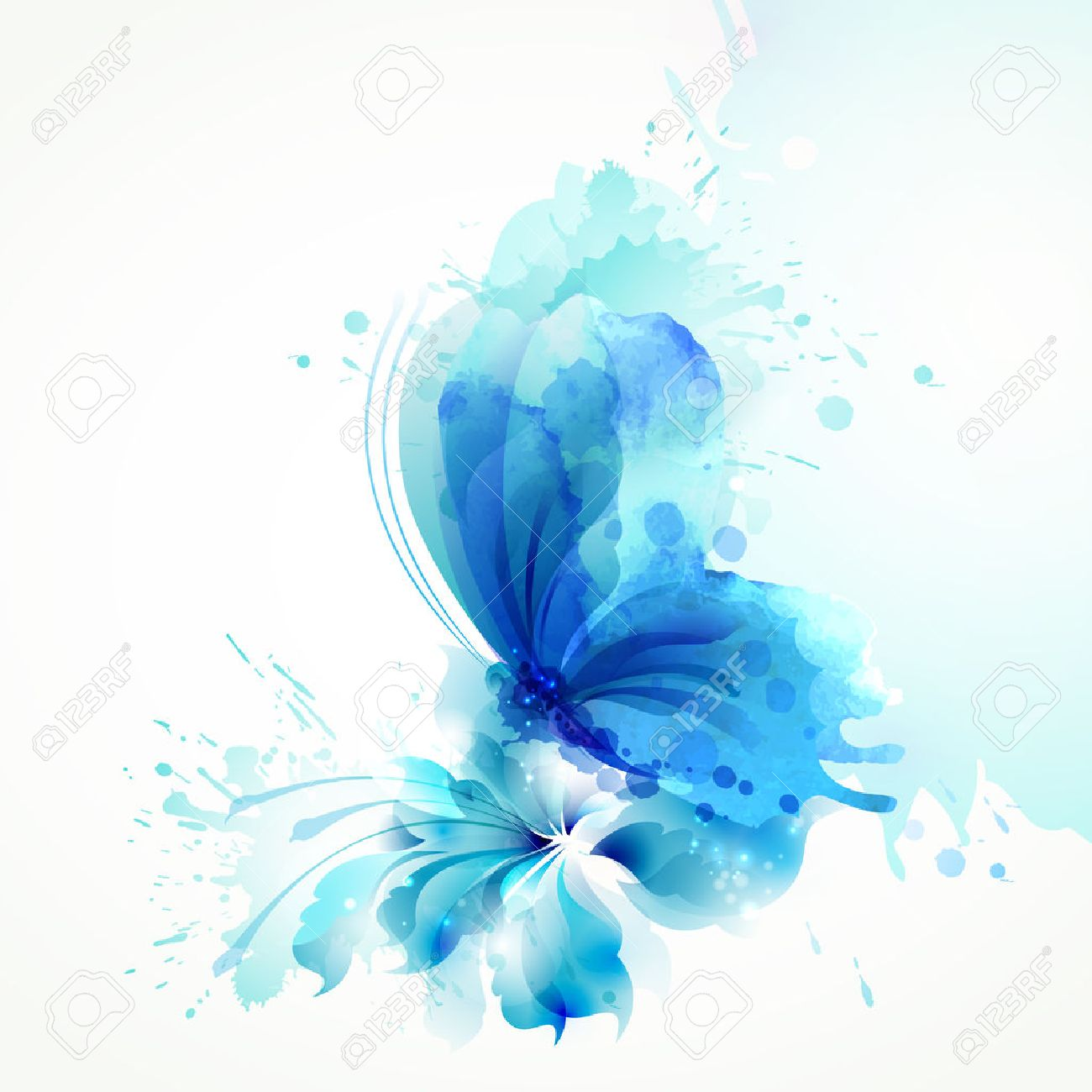 Beautiful watercolor abstract blue butterfly on the flower on the white background. - 72315075