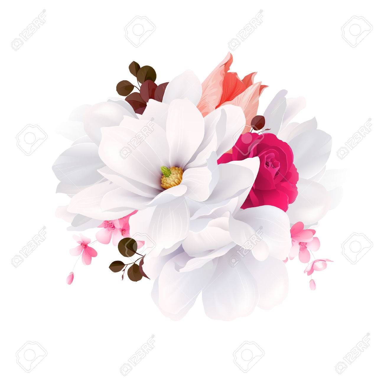 Elegance Flowers Bouquet Of White Beautiful Magnolias, Color ...