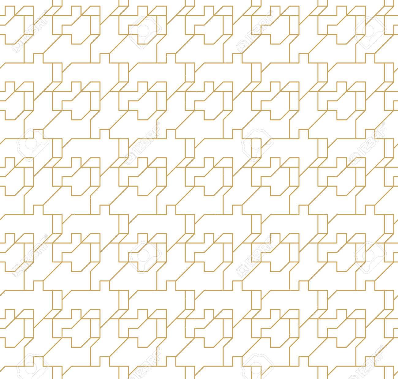 aedf396f64729a Abstract geometrisch naadloos patroon met lijnen en polyginale elementen  geïsoleerd op de witte achtergrond. Stockfoto