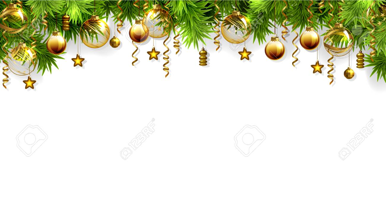 Christmas White Background With Fir Tree And Evening Baubles