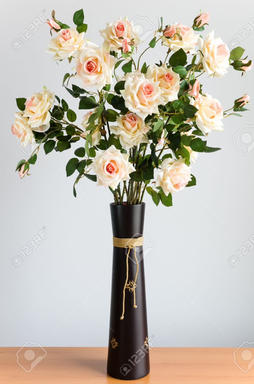 Artificial flowers in a brown vase Stock Photo - 21527739 & Artificial Flowers In A Brown Vase Stock Photo Picture And Royalty ...