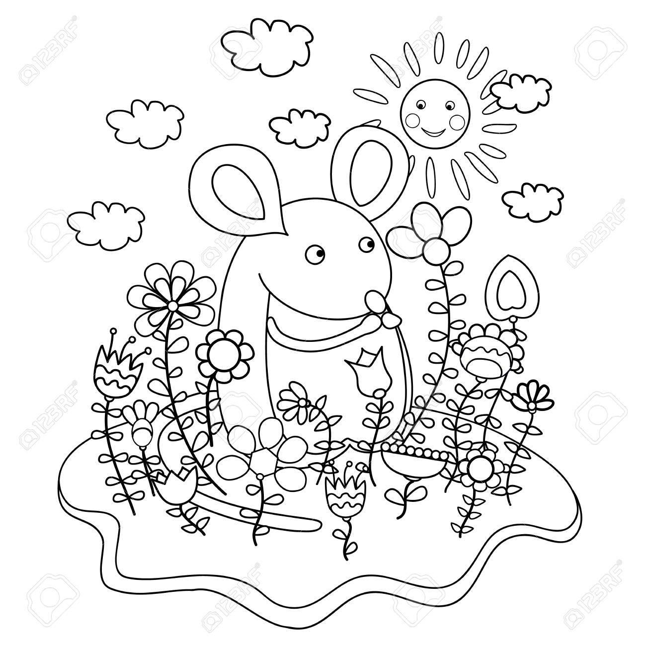 Ratón Divertido Con Las Flores. Libro De Colorear. Ilustraciones ...
