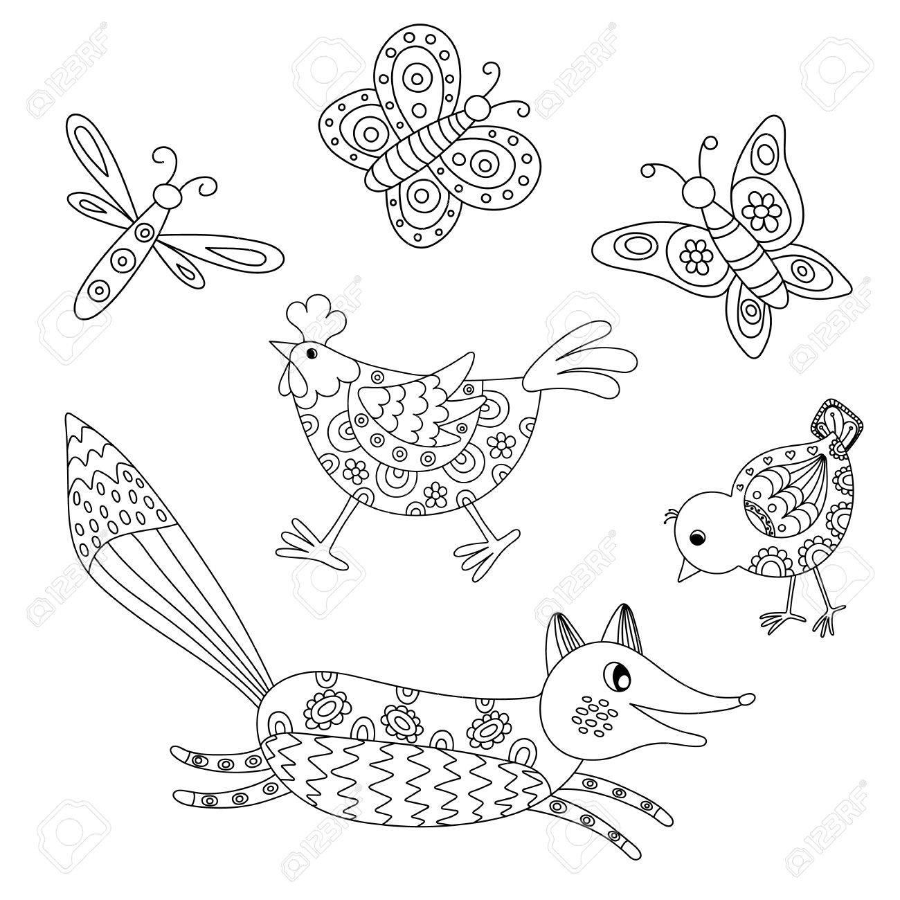 Conjunto De Dibujados A Mano Los Animales Descritos Zorro, Hend ...