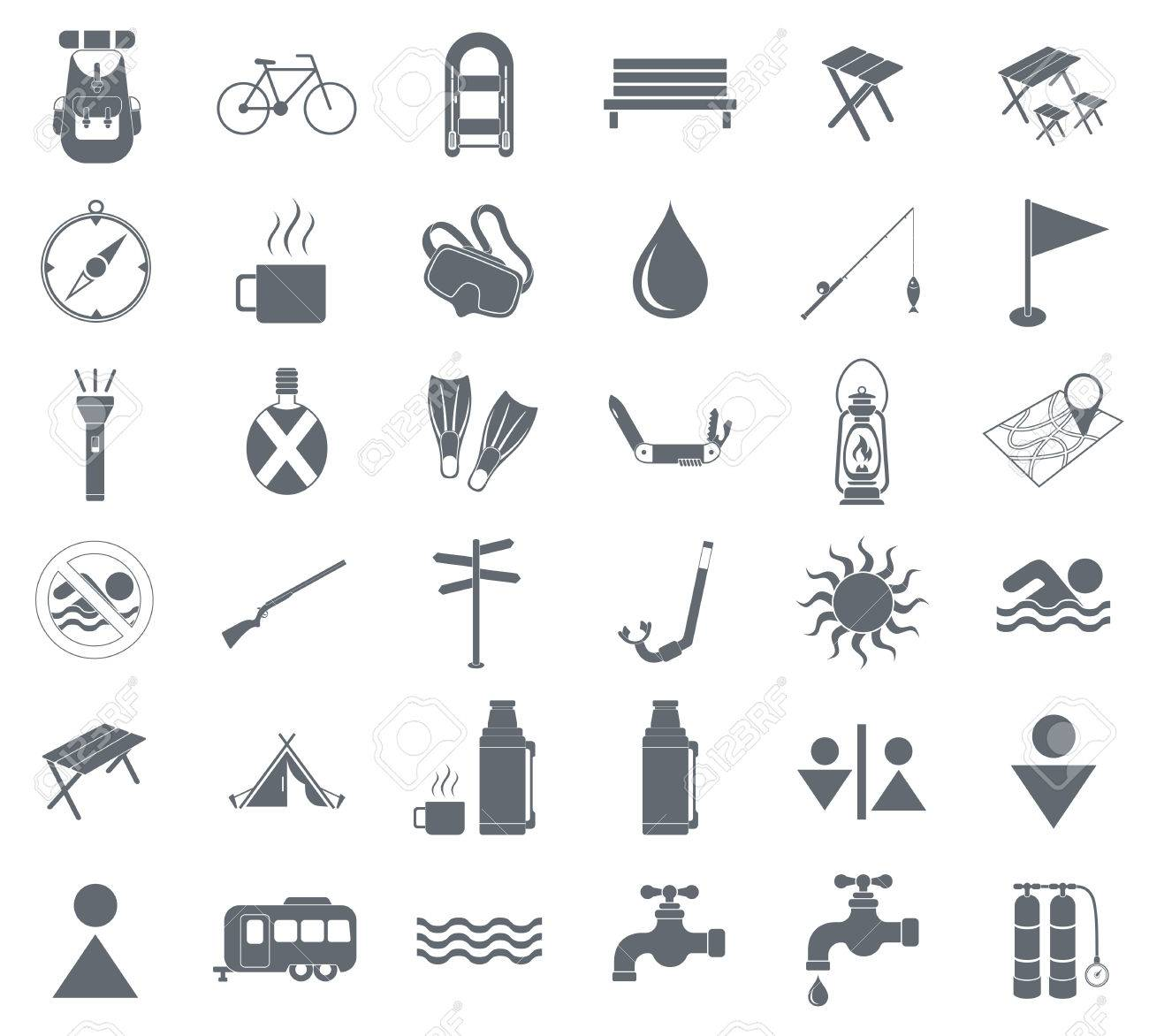 Set Of Camping Equipment Pictograms Vector Illustration Stock