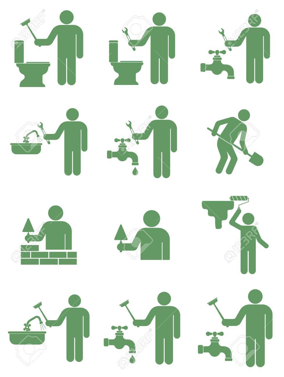 Set of mason worker illustration. - 85133786