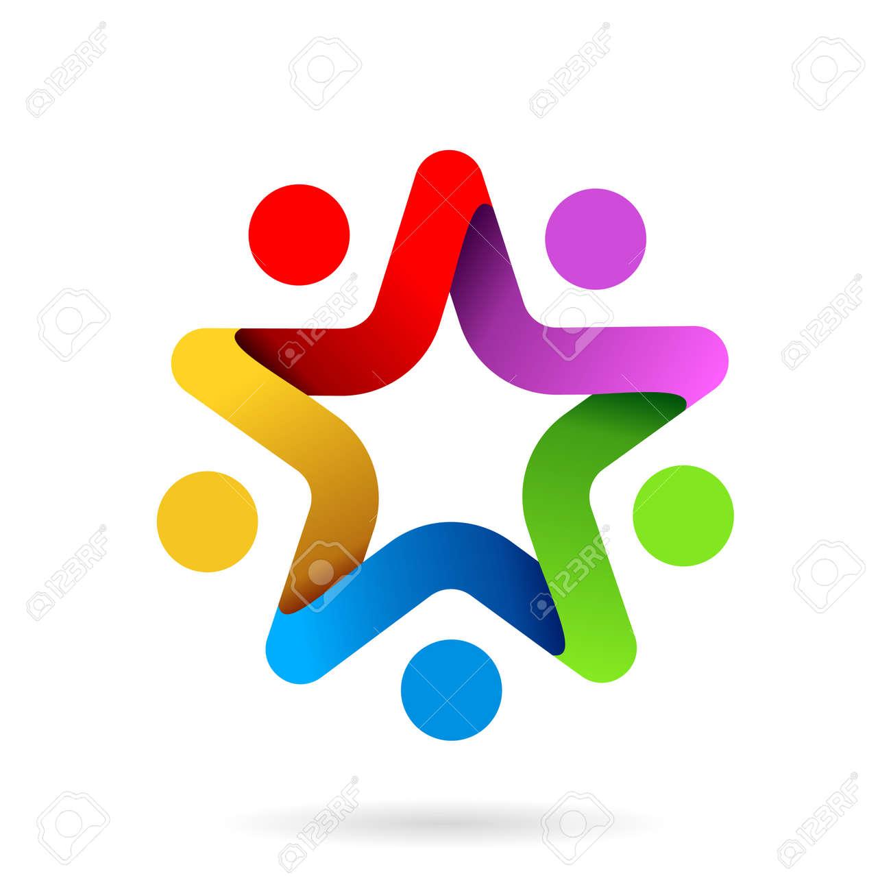 star team work symbol, star team work logo - 168309965