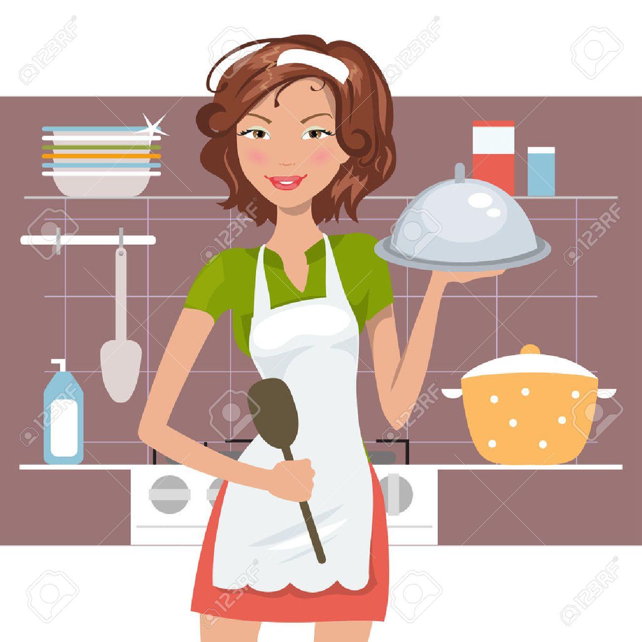 Schöne Frau Koch In Der Küche. Vektor-Illustration Lizenzfrei ...