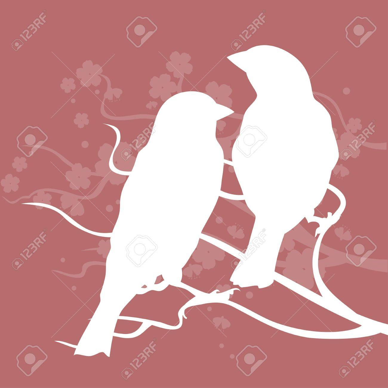 Silhouettes Of Birds Sitting Together And Symbolizes Love Royalty