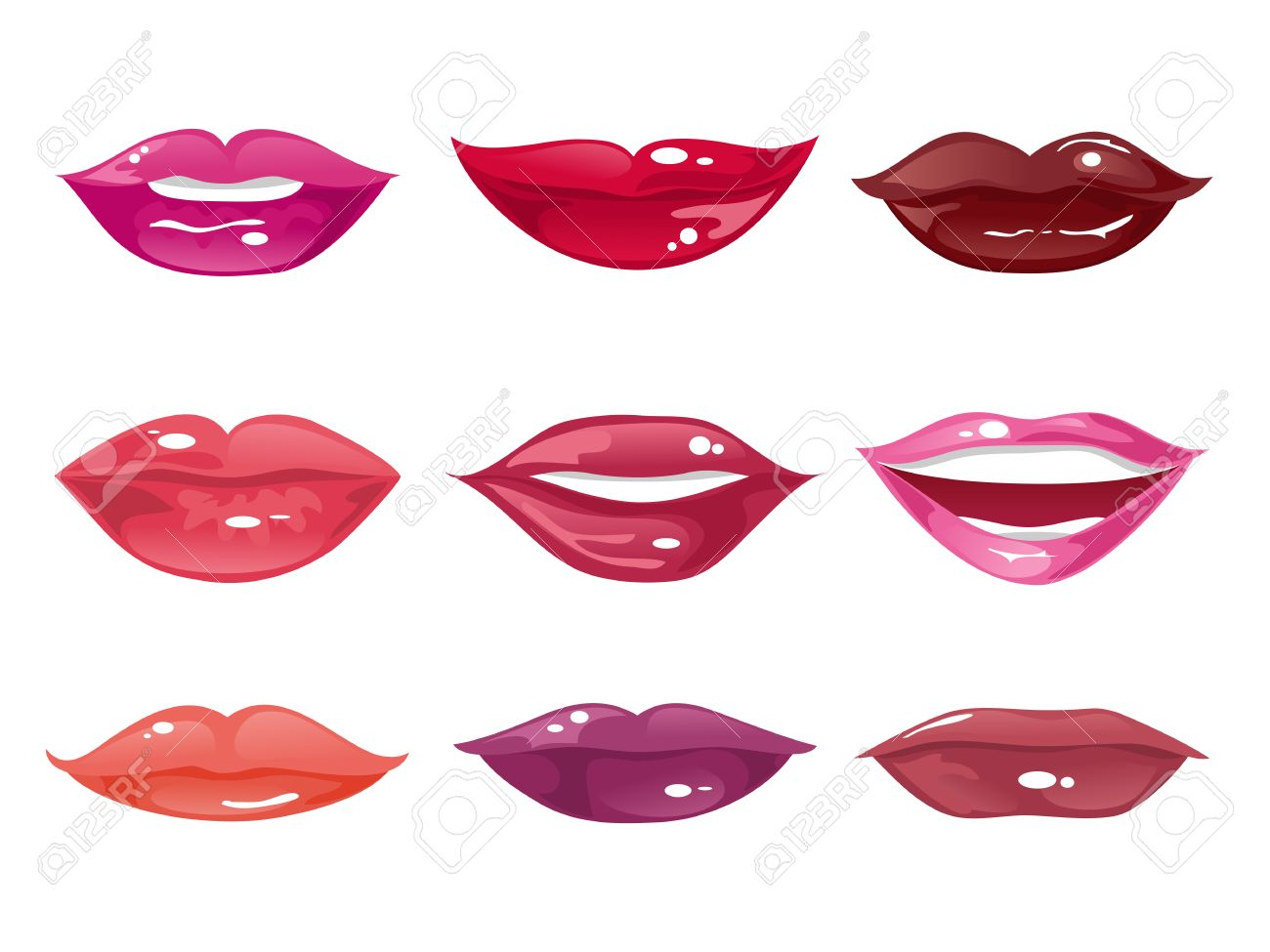 collection of female lips of different shapes with different