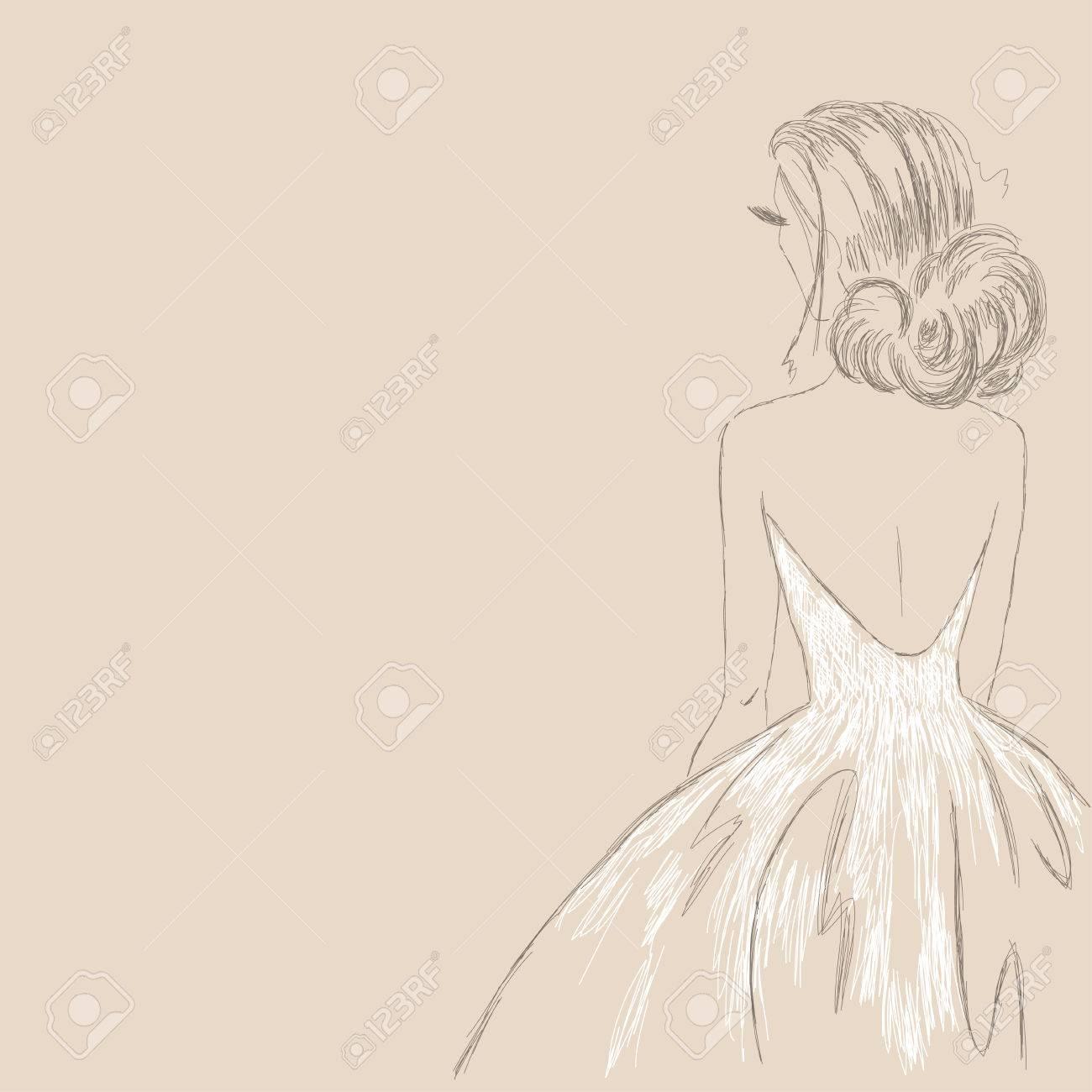 Dibujos de vestidos de novia a lapiz