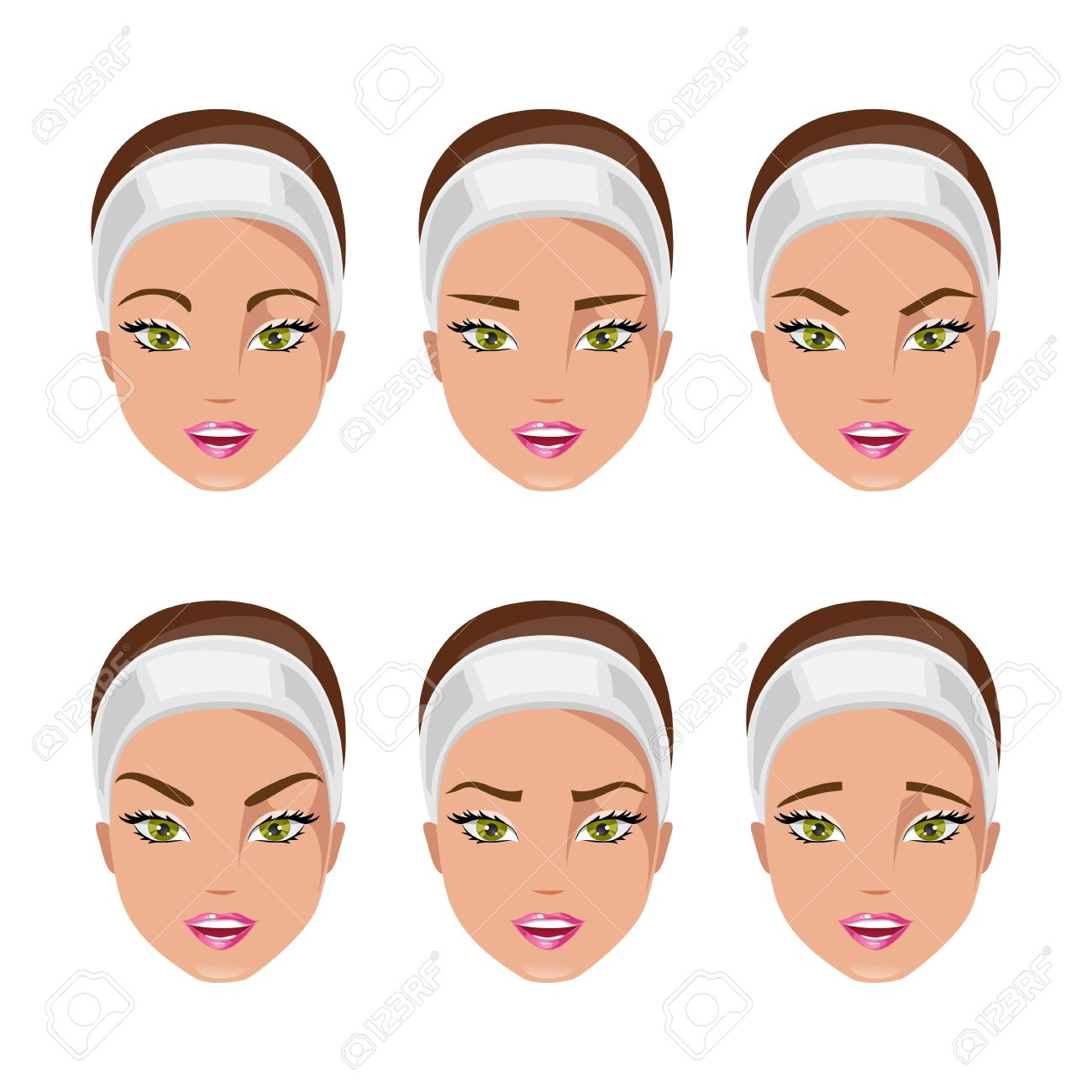 Set Of Women With Different Types Of Eyebrows Royalty Fri Clipart