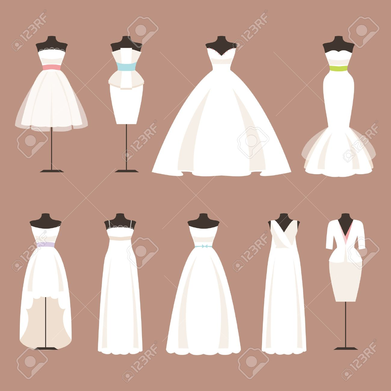 Different Styles Of Wedding Dresses On A Mannequin Royalty Free
