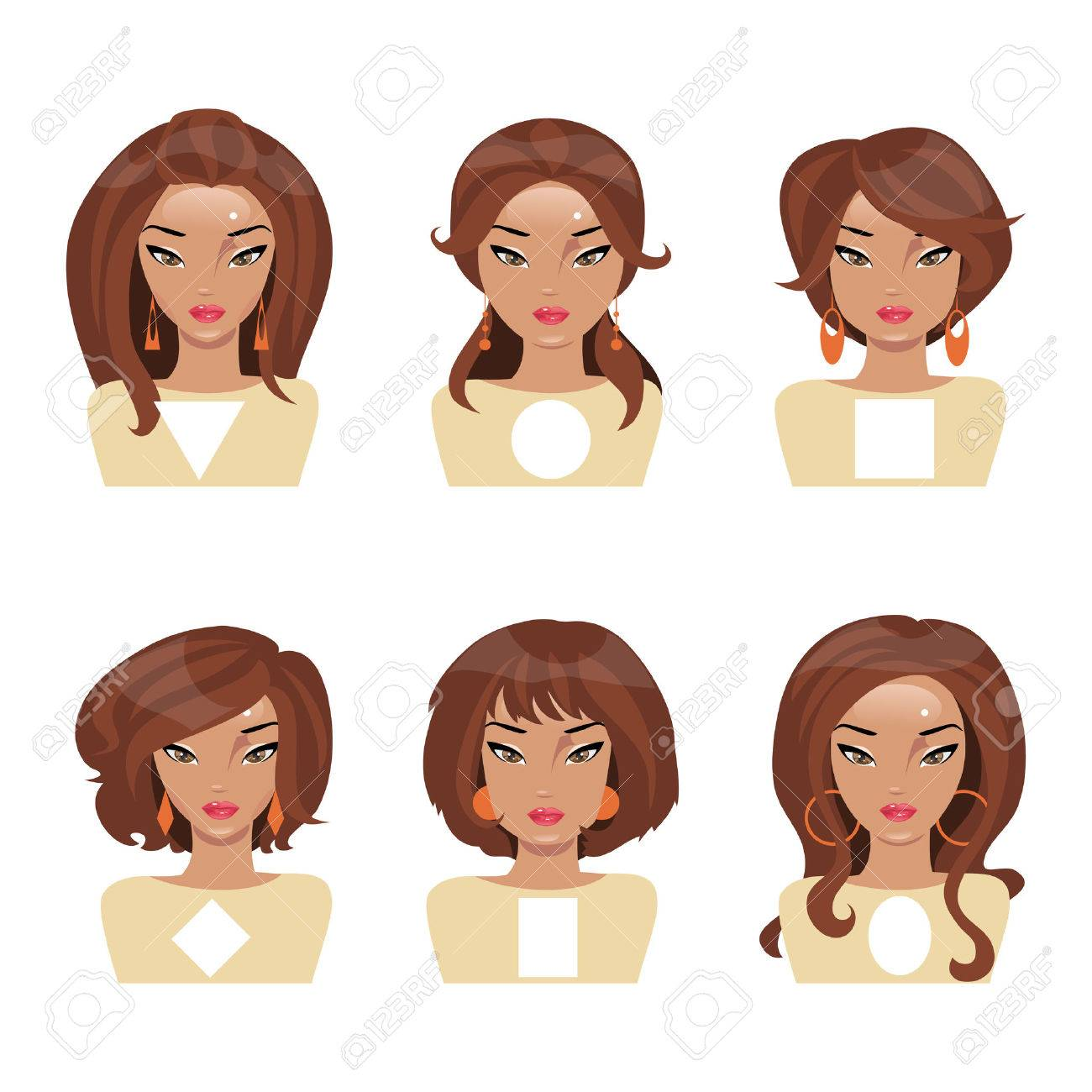 Different face shapes and matching hair and earrings royalty free different face shapes and matching hair and earrings stock vector 48196771 urmus Image collections