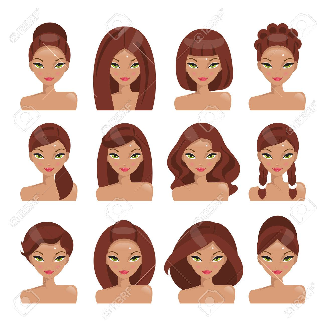 Collection Of Girls With Different Hairstyles On A White ...