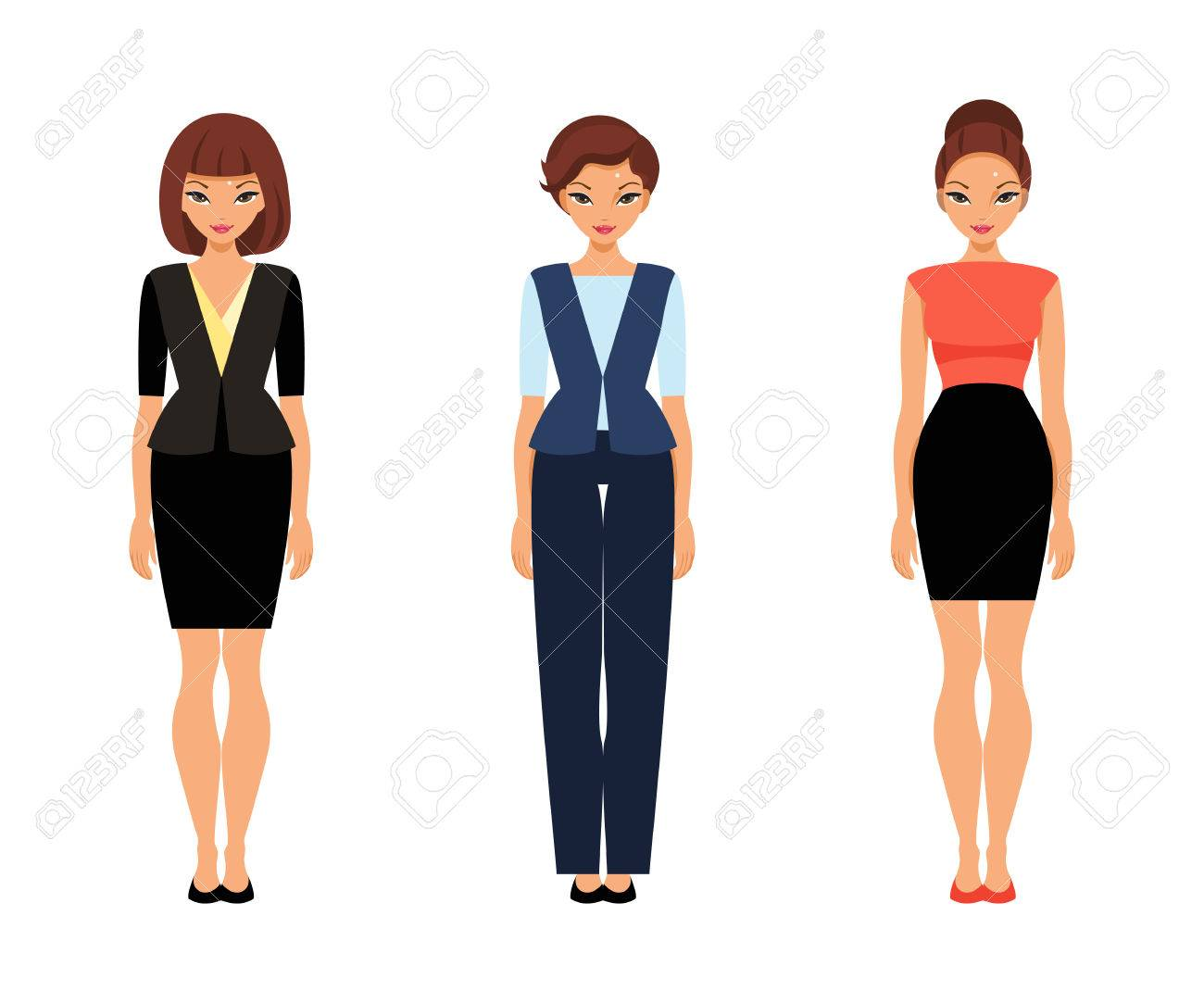 Set Of Women In Office Clothes. Template Paper Doll Royalty Free ...
