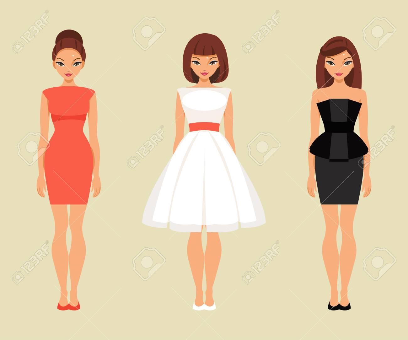 Drei Modische Mädchen In Rot, Weiß Und Schwarz Kleider Lizenzfrei ...