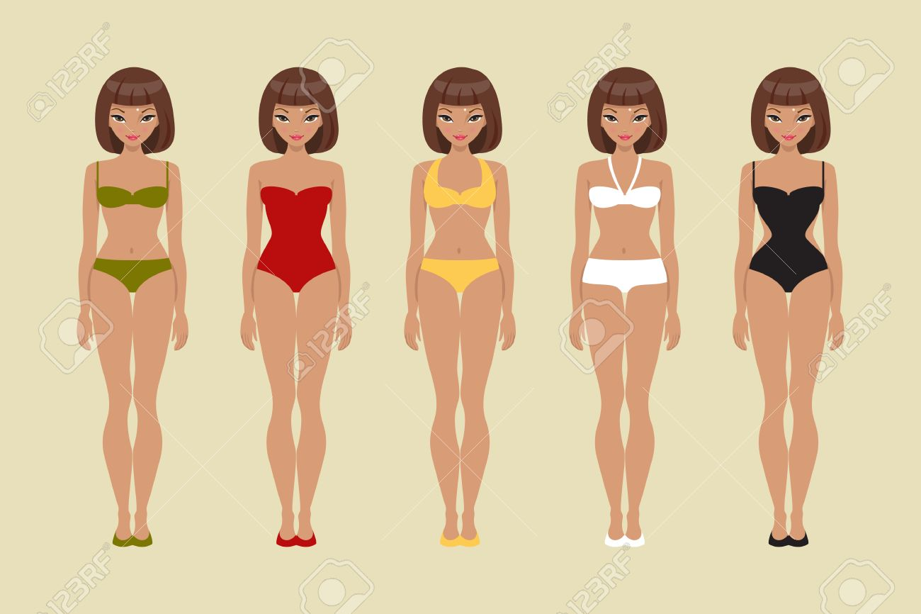 girl bathing suits of different types paper doll template royalty